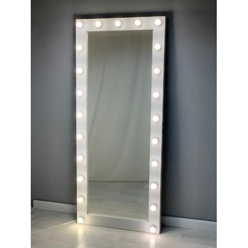 Длинное гримерное зеркало в пол с подсветкой по краям 190 на 80
